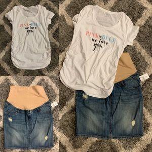 Motherhood Maternity Top & Jean Skirt (Both Sz M)